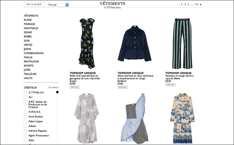 Les ventes sur internet progressent pour la mode feminine